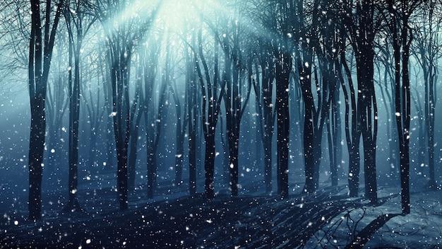 3d фон деревьев на туманный снежный день