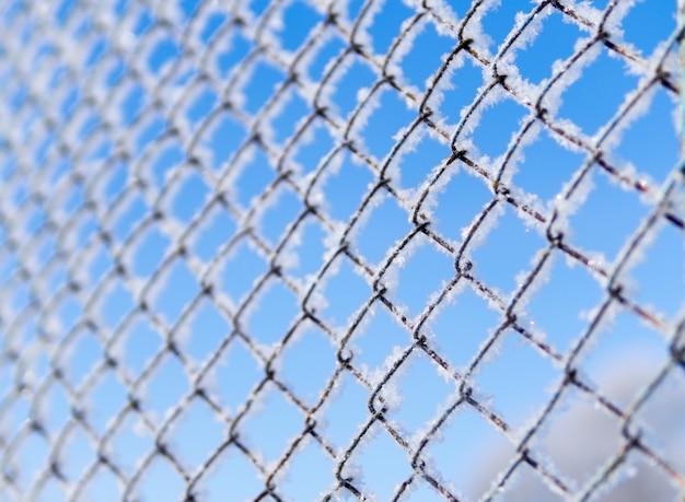 Winter frosty background iron lattice