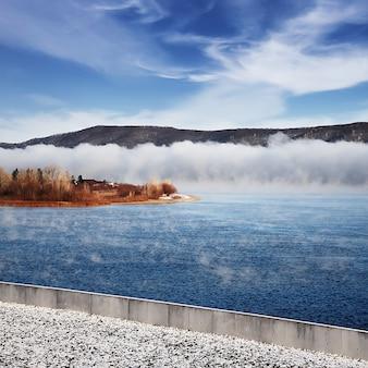 凍っていない川の冬の凍るような霧。土手にある木々や草。