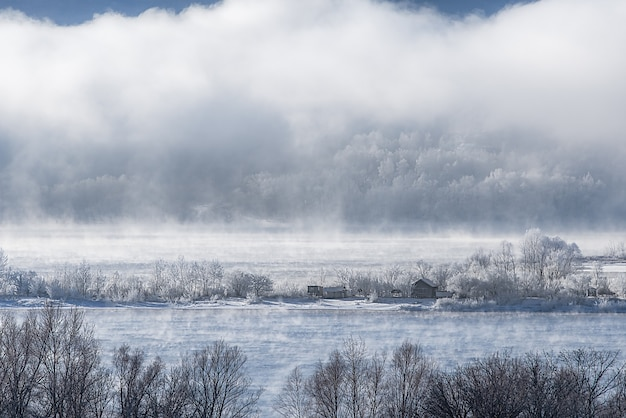 Зимний морозный туман на незамерзшей реке. деревья и дома в снегу на берегу.
