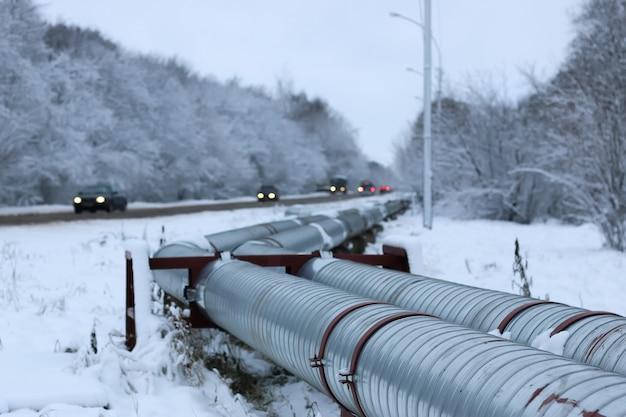 冬のガスパイプライン