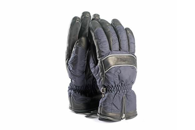 白い背景で隔離の冬の手袋
