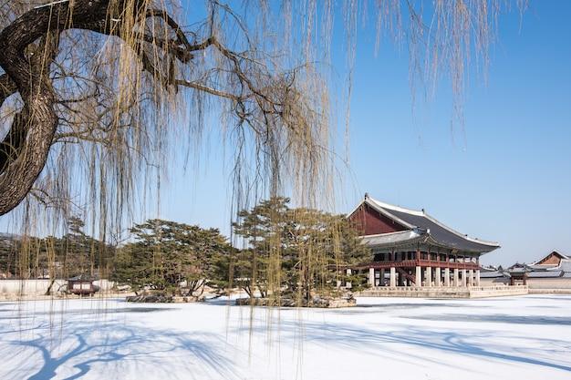 Winter of gyeongbok palace in korea