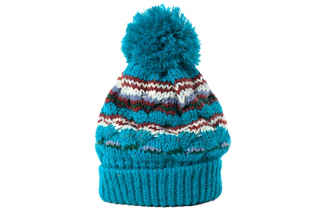 Winter hat with ball on top, isolated