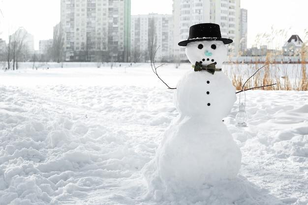 冬の休日のコンセプト。冬の悲しい雪だるま