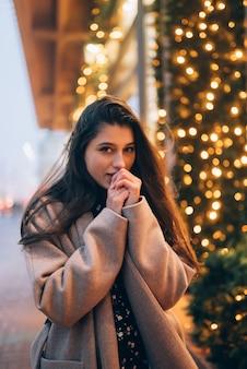 겨울 휴가 시즌. 크리스마스, 새 해 개념입니다. 도시 거리에 조명 된 쇼케이스에 의해 여자입니다.