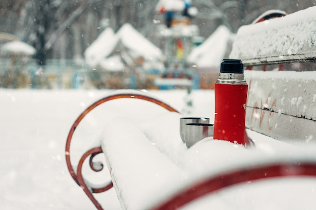 Winter holidays, hot drinks concept.