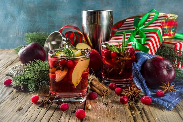 Winter hot sangria cocktail
