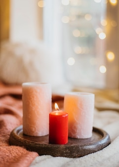 Winter hygge arrangement with candles