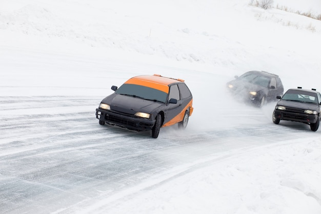 Winter ice track race on a frozen lake