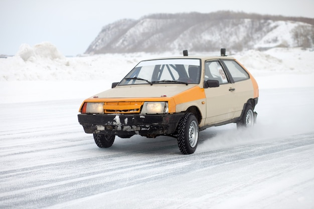 Winter ice track race at frozen river