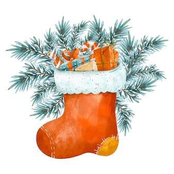 겨울 그림, 크리스마스 양말 흰색 절연입니다. 포도 수확