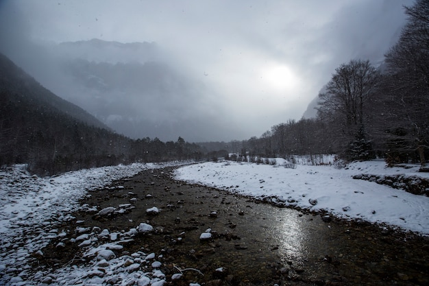 Зима в национальном парке, пиренеи, испания
