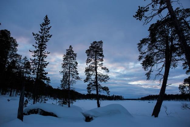 Winter in inari lake, lapland, finland