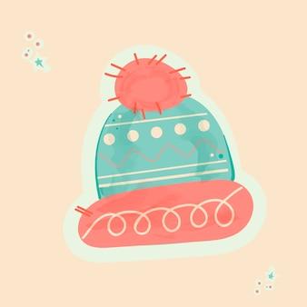 ステッカー風の美しい柄の冬用ニット帽。新年の内容。