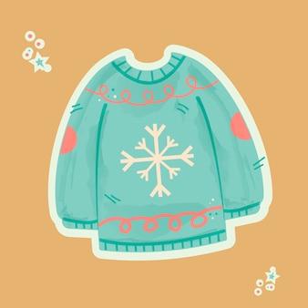 ステッカー風の美しい柄の冬ニットセーター。新年の内容。冬のステッカー