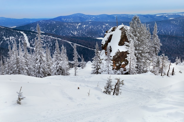 Winter landscape in altay mountains.