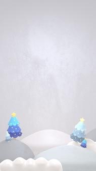 겨울 풍경과 크리스마스 나무 세로 3d 렌더링된 그림
