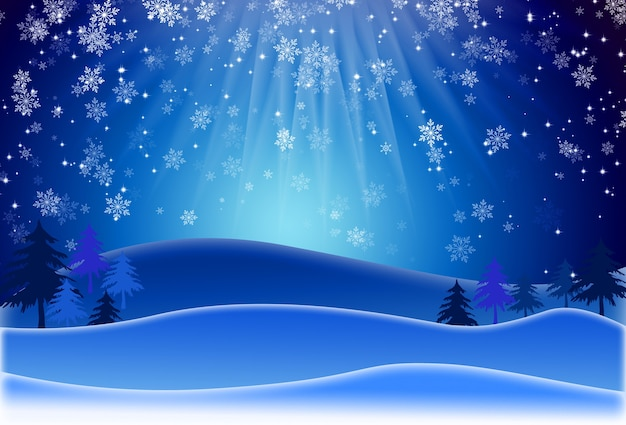 Winter landscape background with blurred snow flake and pine. merry christmas and happy new year greeting card with copy space. trendy classic blue color.