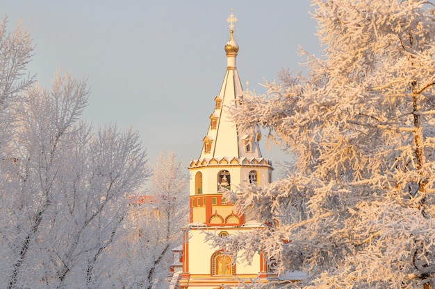 Winter landscape of frosty trees and church in city park.