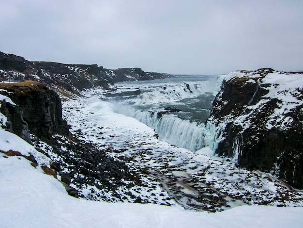Winter landscape in gullfoss waterfall, iceland, northern europe.