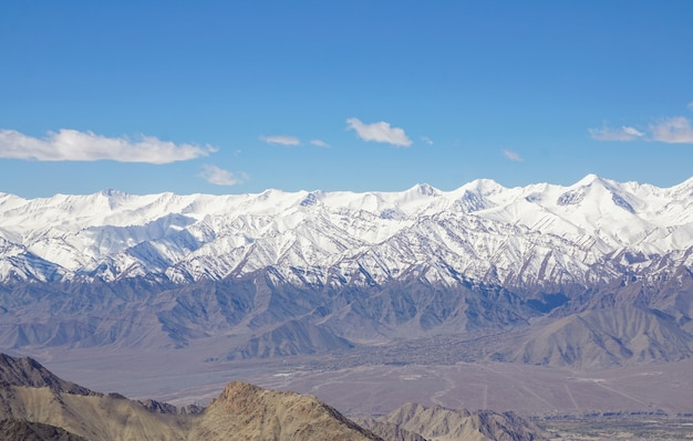 Winter landscape in leh ladahk.view of the himalayan .
