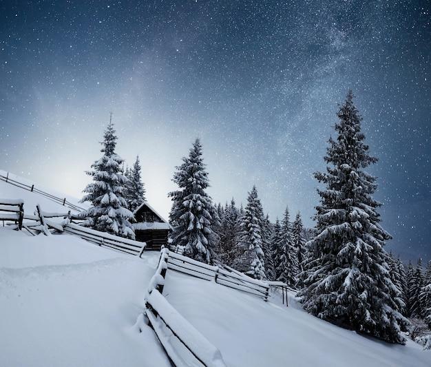 冬の風景。ウクライナのカルパティア山脈の山の村。星と星雲と銀河のある活気に満ちた夜空。深天天体写真。