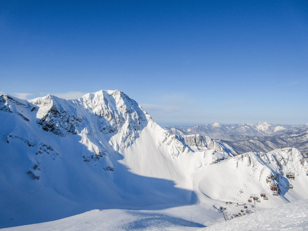 Winter landscape in the mountains. the mountains are covered with snow on a sunny winter day