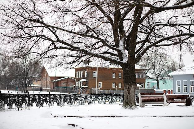 雪の中の田園地帯と道路の冬の風景