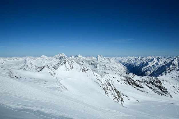 Winter landscape, panorama of the ski resort with ski slopes. alps. austria. pitztaler gletscher. wildspitzbahn