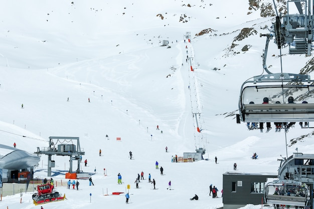 Winter landscape, panorama of the ski resort with ski slopes and ski lifts. alps. austria. pitztaler gletscher. wildspitzbahn