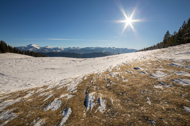 Winter landscape panorama with snowy landscape hills