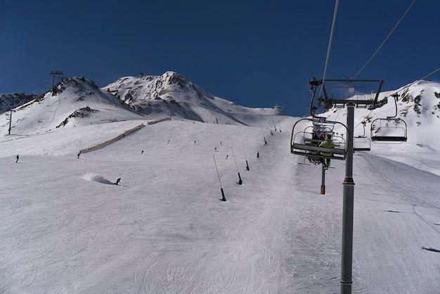 Winter landscape in pas de la casa sector in grandvalira, andorra