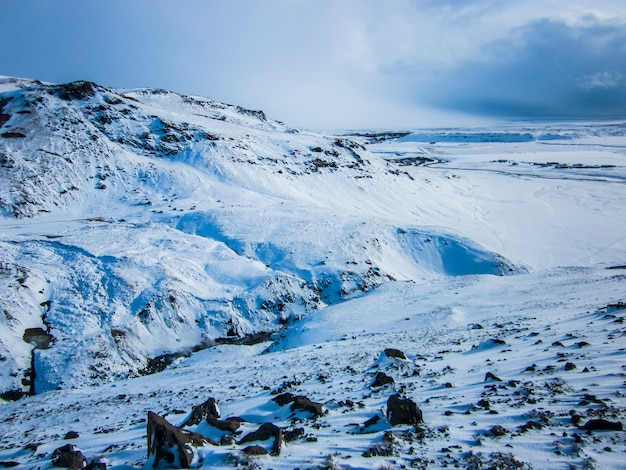 Winter landscape in southern iceland, northern europe.