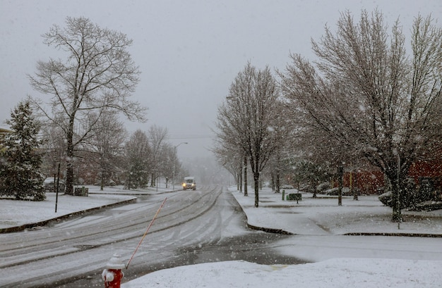 Winter landscape street of a small town snow covered pavement canada usa