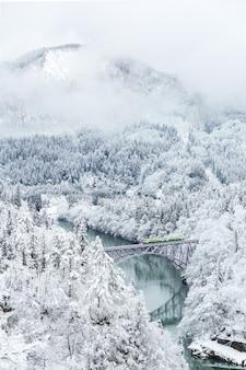 Зимний пейзажный поезд