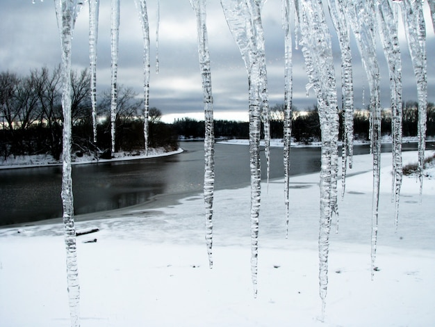 つららの寒い冬の冬の風景の眺め