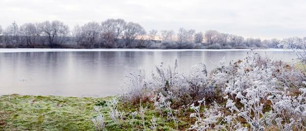 川沿いの霜に覆われた植物と水中の木々の反射のある冬の風景。冬の日、パノラマ