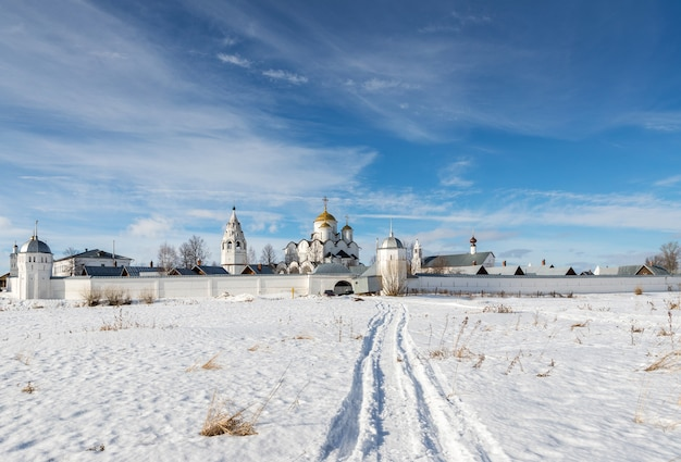 Winter landscape with monastery russia. golden ring of russia travel