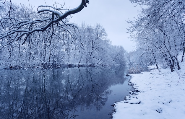 Winter landscape with river in forest.