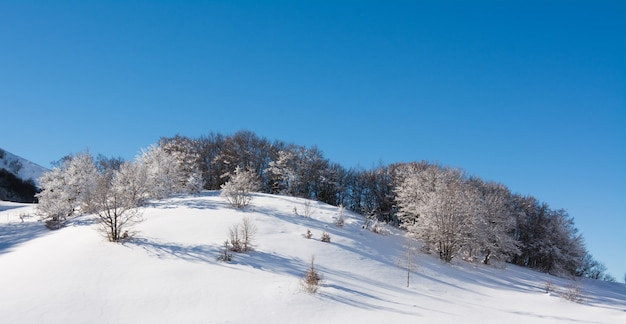 Winter landscape with snow. campo felice, italy