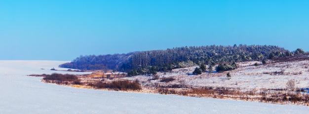 화창한 날씨에 겨울 숲에 눈 덮인 가문비나무가 있는 겨울 풍경, 파노라마