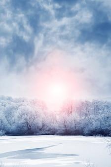 Зимний пейзаж с заснеженными деревьями на берегу реки и живописным небом во время восхода солнца