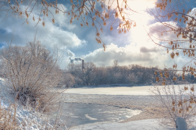 Winter landscape with snow and river