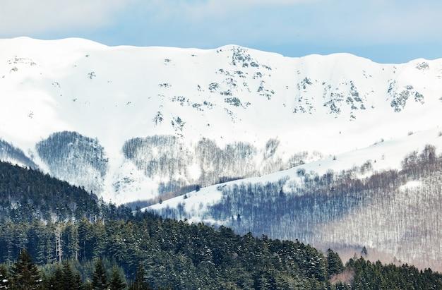 Paesaggio invernale con boschi innevati in alta montagna in una giornata di sole.