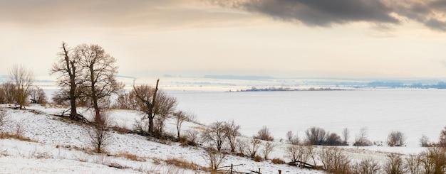日没時の夕方、氷と雪に覆われた川と曇り空の近くの木々のある冬の風景