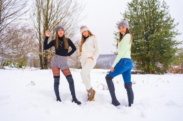 冬のライフスタイル、雪に覆われた松の木の横で雪を楽しんでいる冬の服とウールの帽子を持つ3人の白人の友人、自然の中での休日