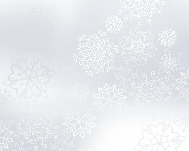Зимний светлый серебряный фон со снежинками