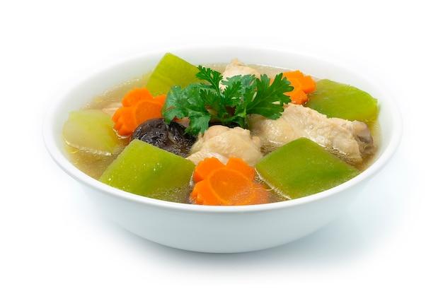 Суп из зимней дыни с курицей из тыквы с морковью