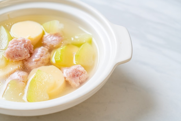 Winter melon soup with minced pork and egg tofu